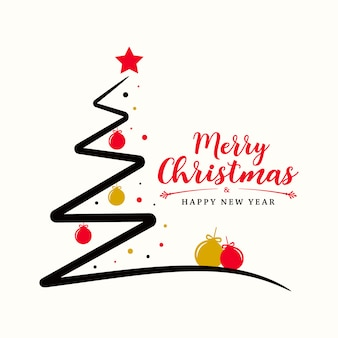 Weihnachtsbaum mit kugeln und sternen in rot- und goldfarben.