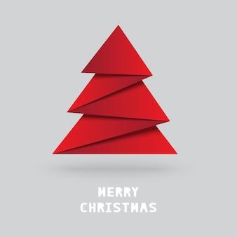 Weihnachtsbaum mit origami-stil auf grau