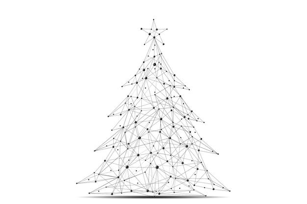 Weihnachtsbaum mit schriftzug low poly schwarz