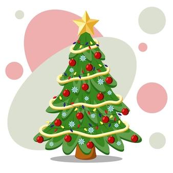 Weihnachtsbaum mit spielzeug, lametta, girlanden und einem goldenen stern oben drauf. flache vektorillustration.