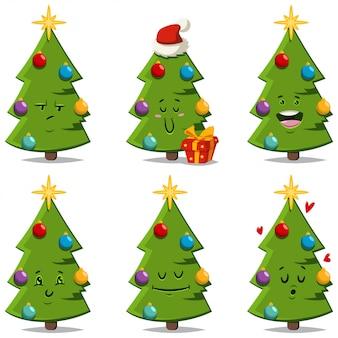 Weihnachtsbaum mit verschiedenen gesichtsausdrücken und gefühlen. vector den lustigen und netten verzierten lokalisierten feiertagsfichtencharakter der karikatur