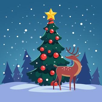 Weihnachtsbaum mit wildem rentier im wald