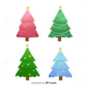 Weihnachtsbaum sammlung im flachen design