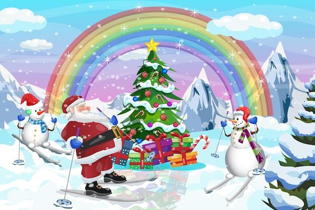 Weihnachtsbaum santa und schneemann skifahren winterzeit hintergrund vektor-design