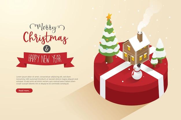 Weihnachtsbaum schneemann und haus auf geschenkboxen groß