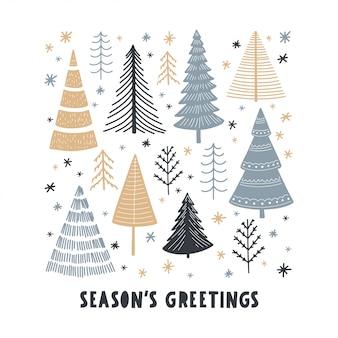 Weihnachtsbaum set grußkarte
