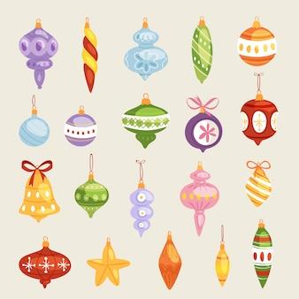 Weihnachtsbaum spielzeug dekorationen bälle, kreis, sterne, glocken zum dekorieren neujahr weihnachtsbaum spielzeug auf zweigen illustration