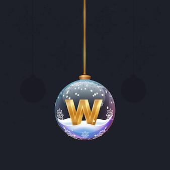 Weihnachtsbaum-spielzeugball mit einem goldenen 3d-buchstaben im inneren neujahrsbaumdekoration gestaltungselement