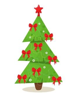 Weihnachtsbaum stilisiert mit roten schleifen. illustration im flachen stil der karikatur.