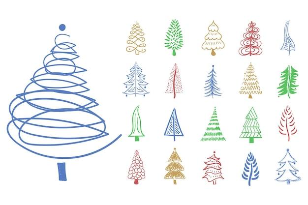 Weihnachtsbaum-symbol pinsel handgezeichnete strichtinte-design-gekritzeltinte für festliche dekoration des neuen jahres