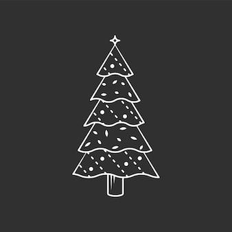 Weihnachtsbaum-symbol. vektorgrafik mit strichzeichnungen