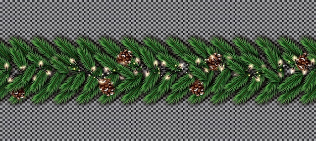 Weihnachtsbaum-tannengrenze mit girlande und kegel auf transparentem hintergrund. grenze der realistisch aussehenden weihnachtsbaumzweige.