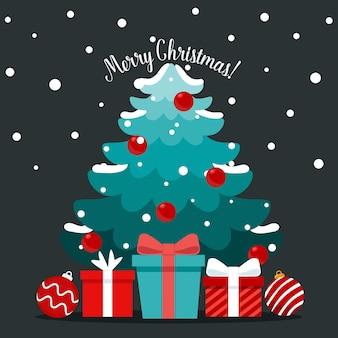 Weihnachtsbaum und dekoratives festobjekt. frohe weihnachten und ein glückliches neues jahr.