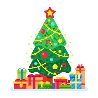Weihnachtsbaum und geschenkboxen
