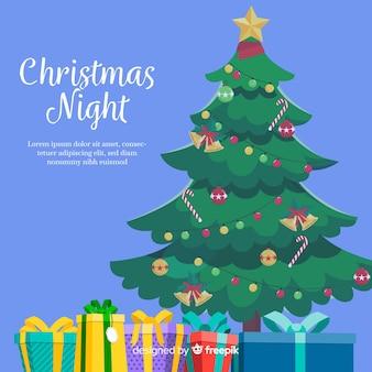 Weihnachtsbaum und geschenke hintergrund