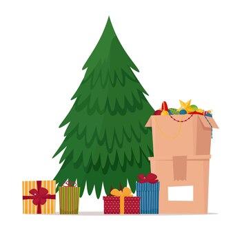 Weihnachtsbaum und kasten mit weihnachtsdekorationen vorfeiertags-flache vektorillustration