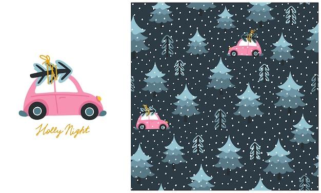 Weihnachtsbaum und spielzeugauto bei nacht. satz nahtloses muster und illustration.