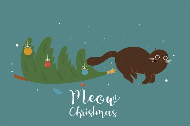 Weihnachtsbaum und süße katze.