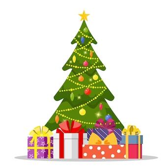 Weihnachtsbaum und weihnachtsgeschenke.
