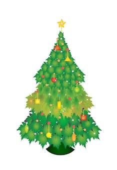 Weihnachtsbaum von maple leaves mit tag und bogen