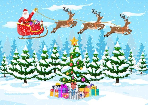 Weihnachtsbaum, weihnachtsmann mit rentier und schlitten. winterlandschaft mit tannenwald und schnee. frohes neues jahr feiern. neujahrs-weihnachtsfeiertag.