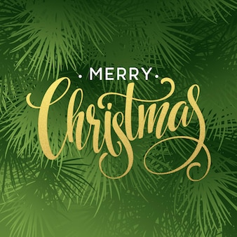 Weihnachtsbaum-zweige-grenze mit handschrift-beschriftung. vektor-illustration eps10