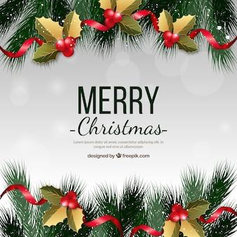 Weihnachtsbaum zweige und dekorationen