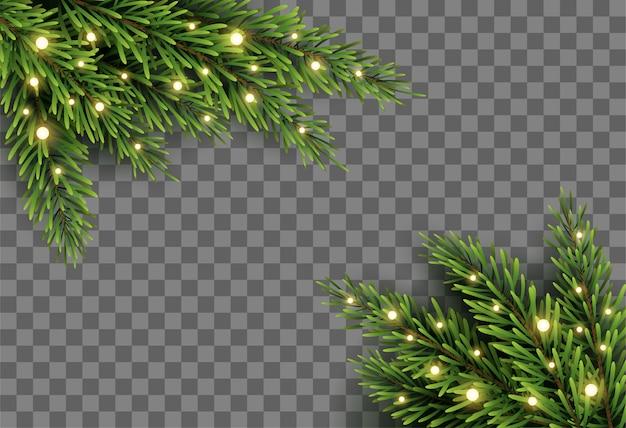 Weihnachtsbaumdekor mit tannenzweigen und lichtern auf transparentem hintergrund