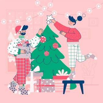 Weihnachtsbaumdekorationsszene