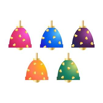 Weihnachtsbaumdekorative elemente objekte in glockenformen