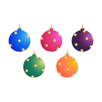 Weihnachtsbaumdekorative elemente objekte in kristallkugelformen