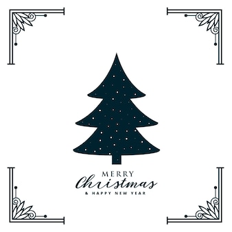 Weihnachtsbaumdesign mit dekorativem rahmenrand