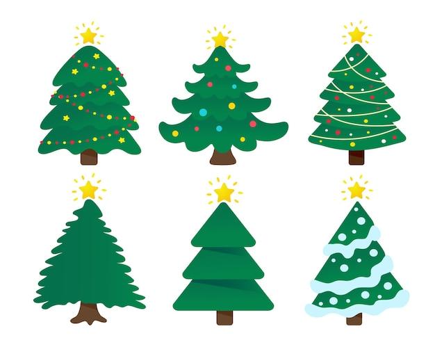 Weihnachtsbaumentwurf verziert mit buntem ball und stern oben. Premium Vektoren