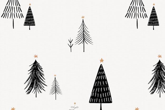 Weihnachtsbaumhintergrund, niedliches gekritzelmuster im schwarzen vektor