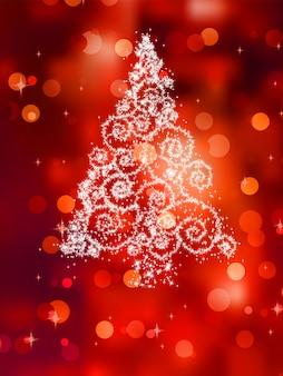 Weihnachtsbaumillustration auf rot.