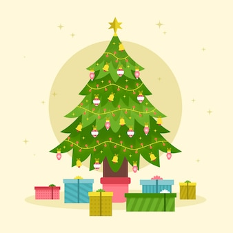 Weihnachtsbaumkonzept im flachen design