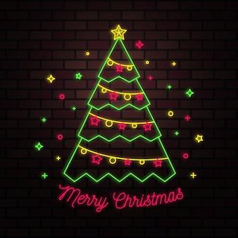 Weihnachtsbaumkonzept mit neondesign