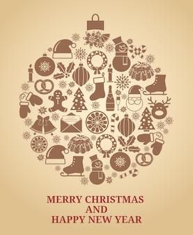 Weihnachtsbaumsymbol im weinlesestil mit weihnachtsikonenvektorillustration