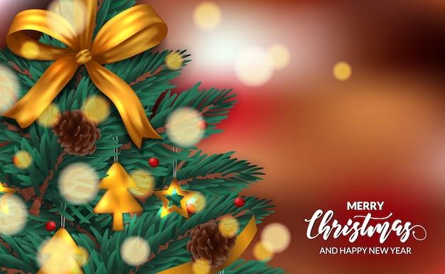 Weihnachtsbaumtanne verlässt girlandendekoration mit kiefernkegel, goldenem band, flitterzubehör