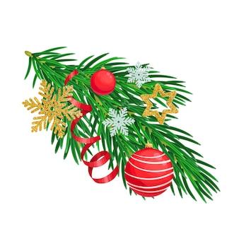 Weihnachtsbaumzweig mit weihnachtsschmuck