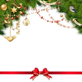 Weihnachtsbaumzweige auf weiß.