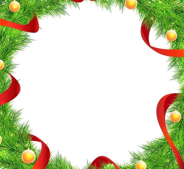 Weihnachtsbaumzweige rahmenvektor