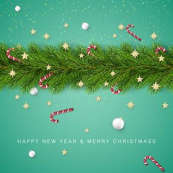 Weihnachtsbaumzweige verziert mit goldenen sternen und schneeflocken, zuckerstangen und weißen weihnachtskugeln. feiertagsdekorationselement mit wünschen.