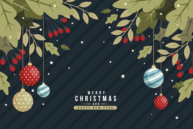 Weihnachtsbaumzweighintergrund im flachen entwurf