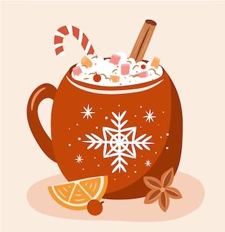 Weihnachtsbecher mit winter-heißgetränk