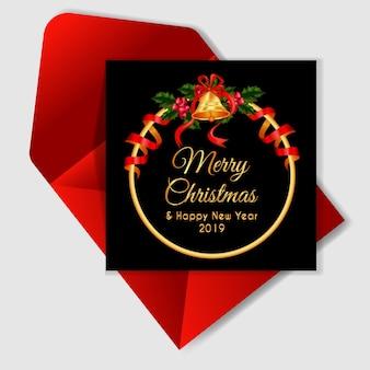 Weihnachtsbeere-kranzkarte mit klingelglocke und rotem band