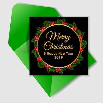 Weihnachtsbeere-kranzkarte mit rundem gold