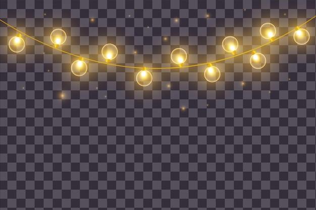 Weihnachtsbeleuchtung auf transparentem hintergrund isoliert. vektor-illustration.для нтернета