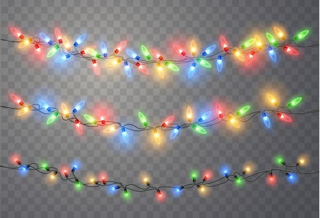 Weihnachtsbeleuchtung eingestellt. vektor neujahr dekorieren girlande mit leuchtenden glühbirnen.