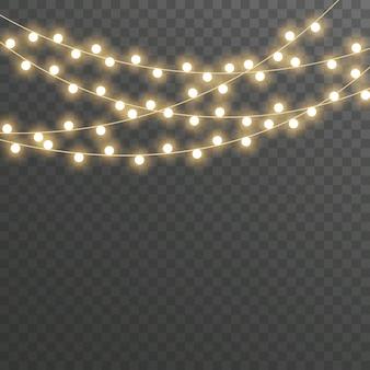 Weihnachtsbeleuchtung, girlande auf transparentem.
